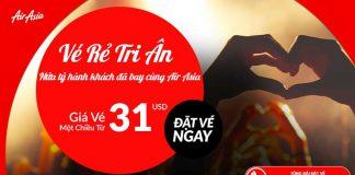 Tri âm khách hàng Air Asia mở bán vé từ 31 USD