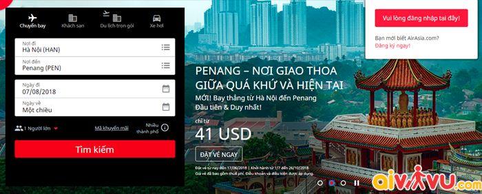 Giá vé chỉ từ 41 USD từ Hà Nội đến thẳng Penang
