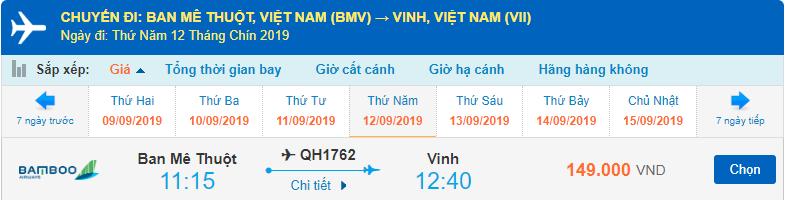 Giá vé máy bay đi Vinh Bamboo Airways từ Buôn Mê Thuột