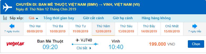 Giá vé máy bay đi Vinh Vietjet Air từ Buôn Mê Thuột
