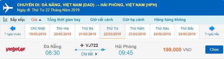 Vé máy bay Đà Nẵng đi Hải Phòng Vietjet Air