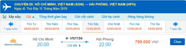 Giá vé máy bay Hồ Chí Minh đi Hải Phòng Vietnam Airlines
