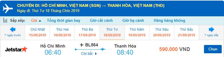 Vé máy bay đi Thanh Hóa Jetstar Pacific