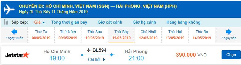 Giá vé máy bay Hồ Chí Minh đi Hải Phòng Jetstar Pacific