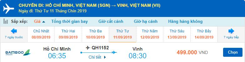 Vé máy bay từ TPHCM đi Vinh Bamboo Airways