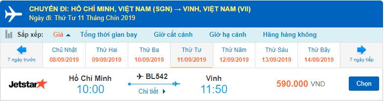 Vé máy bay Sài Gòn Vinh Jetstar Pacific