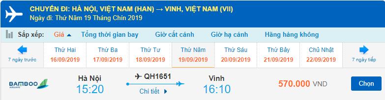 Giá vé máy bay đi Vinh Bamboo Airways từ Hà Nội