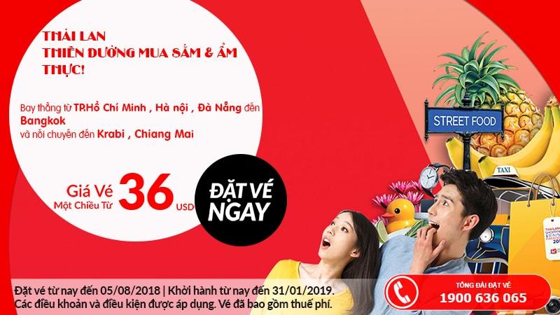 Đặt vé Air Asia một chiều từ 36 USD