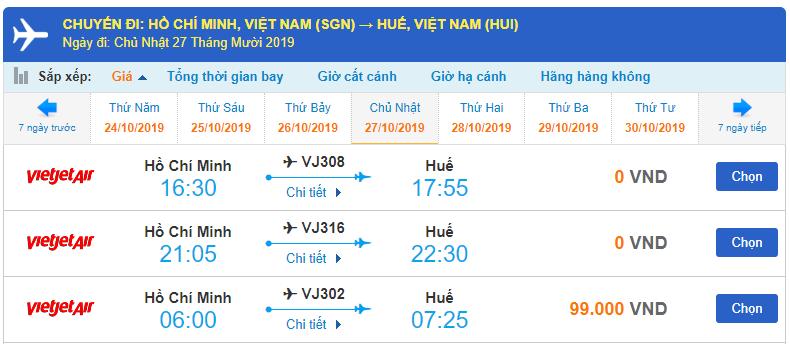 Giá vé máy bay đi Huế Sài Gòn của Vietjet Air