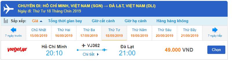 Giá vé máy bay đi Đà Lạt Vietjet Air từ Hồ Chí Minh