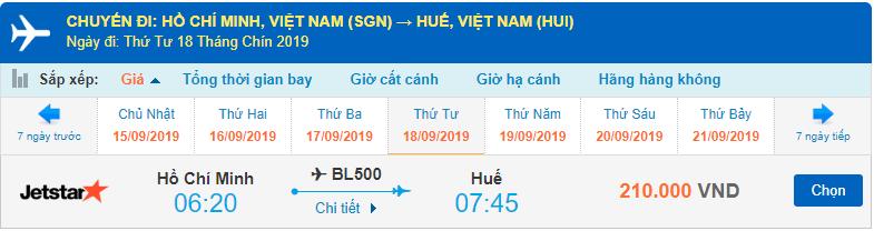 Vé máy bay Sài Gòn đi Huế Jetstar Pacific