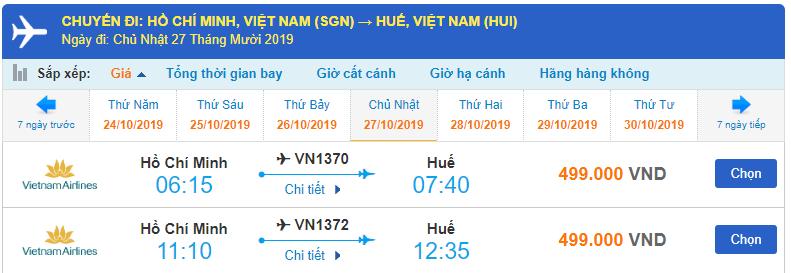 Vé máy bay đi Huế Vietnam Airlines từ Hồ Chí Minh