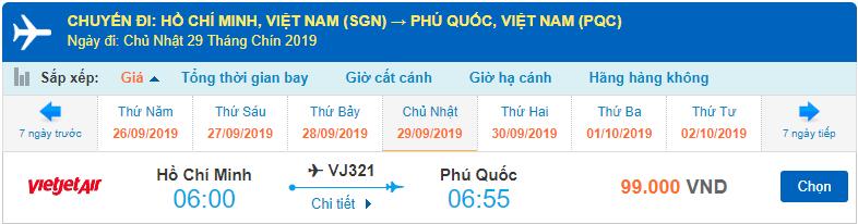 Vé máy bay đi Phú Quốc từ Hồ Chi Minh Vietjet Air