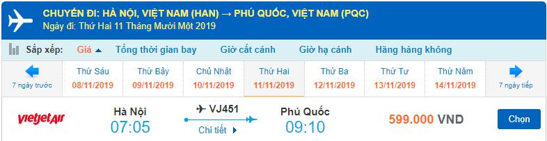 Vé máy bay Hà Nội đi Phú Quốc từ Hồ Chi Minh Vietjet Air