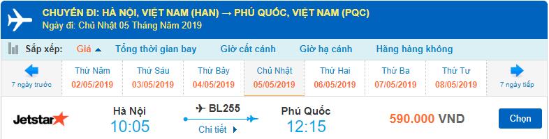 Vé máy bay Hà Nội Phú Quốc Jetstar Pacific
