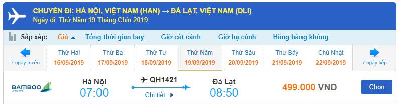 Lịch bay Hà Nội Đà Lạt của Bamboo Airways