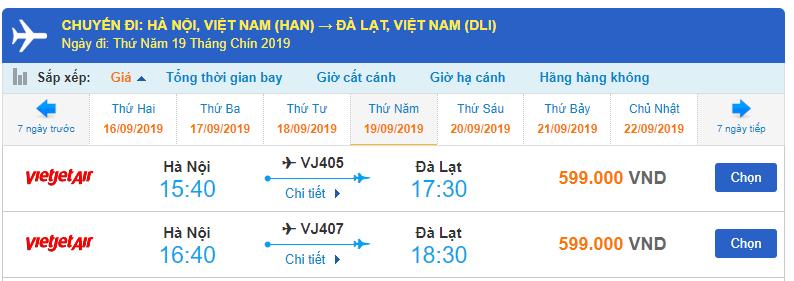 Giá vé máy bay đi Đà Lạt Vietjet Air từ Hà Nội