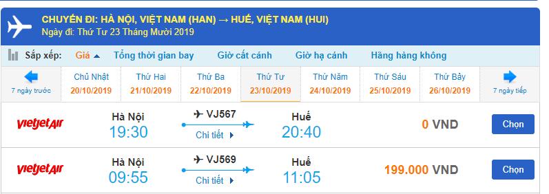Giá vé máy bay Hà Nội Huế Vietjet Air