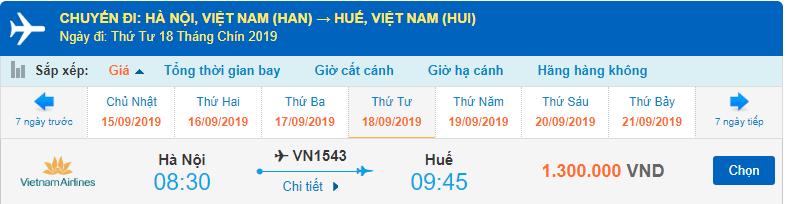 Vé máy bay đi Huế Vietnam Airlines từ Hà Nội