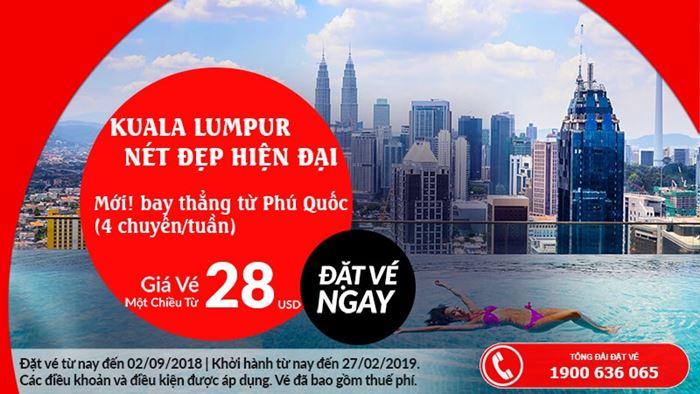 Từ Phú Quốc đến Kuala Lumpur chỉ với 28 USD