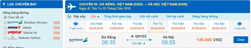 Giá vé máy bay đi Hà Nội Đà Nẵng Bamboo Airways
