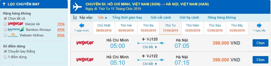 Giá vé máy bay đi Hà Nội Sài Gòn