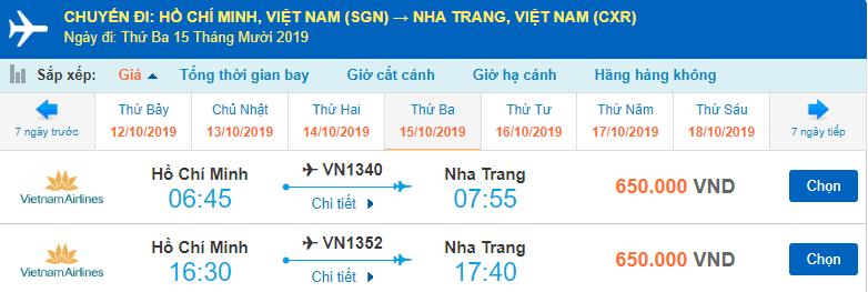Giá vé máy bay Hồ Chí Minh đi Nha Trang Vietnam Airlines