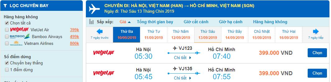 Giá vé máy bay đi Hồ Chí Minh từ Hà Nội
