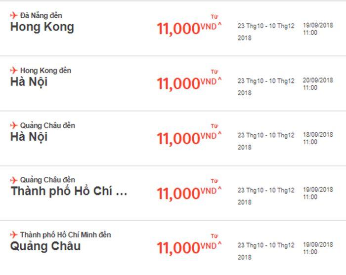 Giá vé máy bay 1 chiều chỉ 11.000 VNĐ