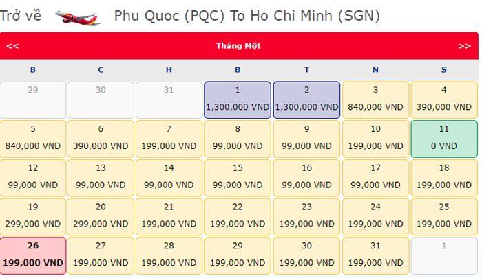 Vé máy bay 0 đồng từ Phú Quốc đến Hồ Chí Minh