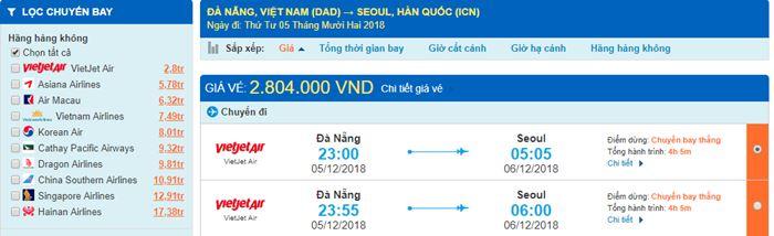 Giá vé máy bay từ Đà Nẵng đi Hàn Quốc