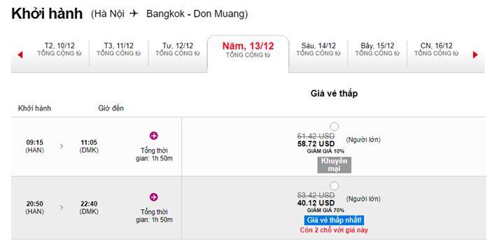 Khuyến mãi hành trình Hà Nội BangKok