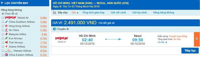 Giá vé máy bay từ Hồ Chí Minh đi Hàn Quốc