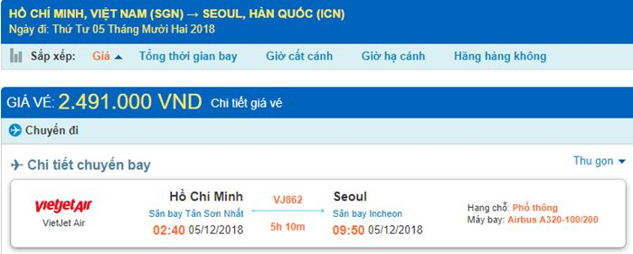 Giá vé máy bay từ Hồ Chí Minh đi Hàn Quốc chi tiết