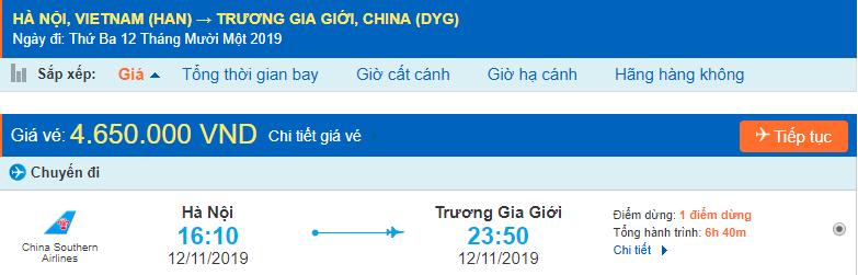 Vé máy bay đi Trương Gia Giới từ Hà Nội