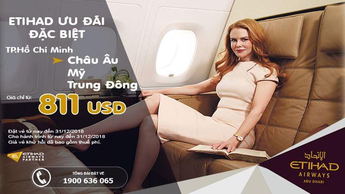 Etihad Airways bay từ thành phố Hồ Chí Minh chỉ từ 811 USD