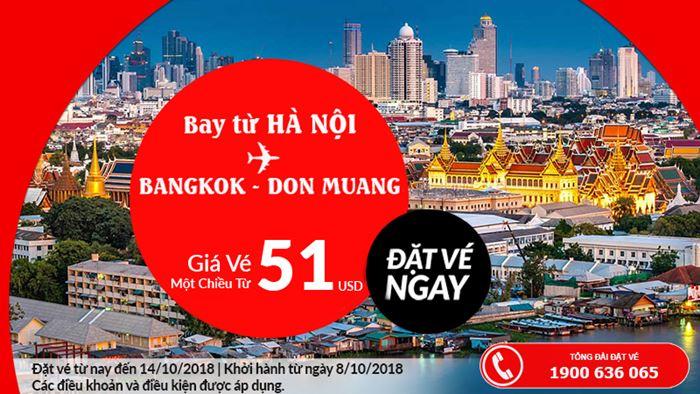 Chỉ 51 USD bay thẳng từ Hà Nội đến BangKok