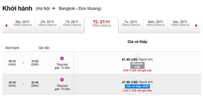 Khuyến mãi hành trình Hà Nội đến BangKok