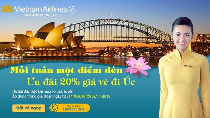 Giảm 20% vé máy bay từ Việt Nam sang Úc
