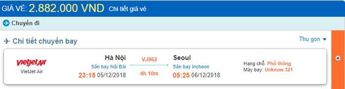 Giá vé máy bay từ Hà Nội đi Hàn Quốc chi tiết
