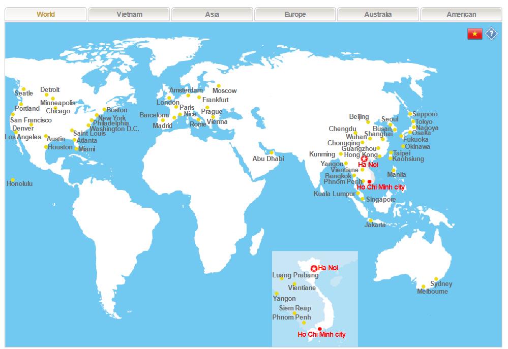 Các điểm điến của Vietnam Airlines
