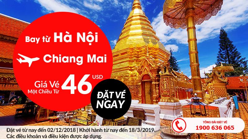 Cùng Air Asia kết nối Hà Nội Chiang Mai chỉ với 46 USD
