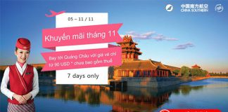 Giảm giá khủng China Southern Airlines