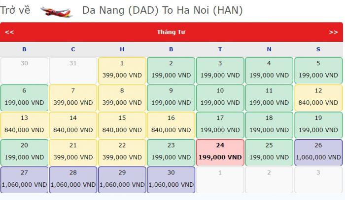 Giá Vé 0 đồng hành trình từ Đà Nẵng đi Hà Nội