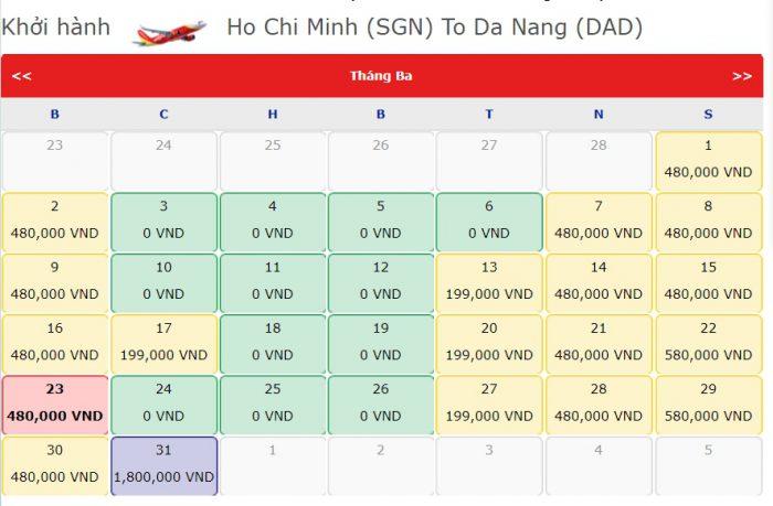 Giá Vé 0 đồng hành trình từ Hồ Chí Minh đi Đà Nẵng