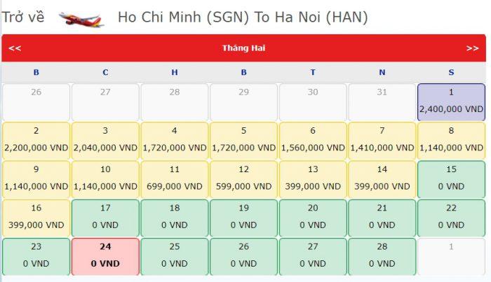 Giá Vé 0 đồng hành trình từ Hồ Chí Minh Hà Nội