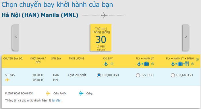 Tham khảo giá vé máy bay hành trình Hà Nội đi Manila