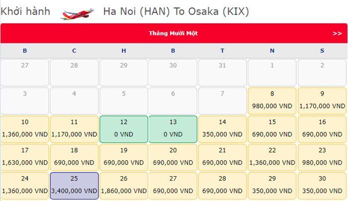 Giá vé máy bay 0 đồng từ Hà Nội đi Osaka