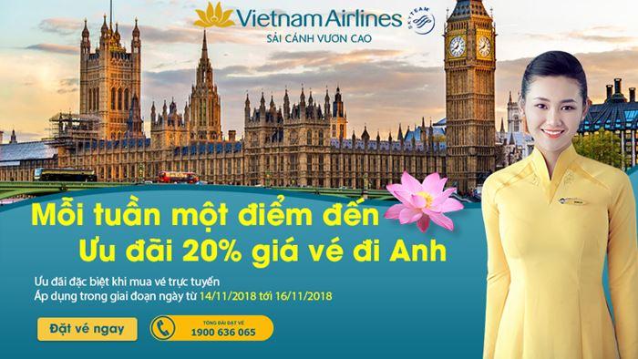 Chinh phục nước Anh với vé máy bay giảm 20 %