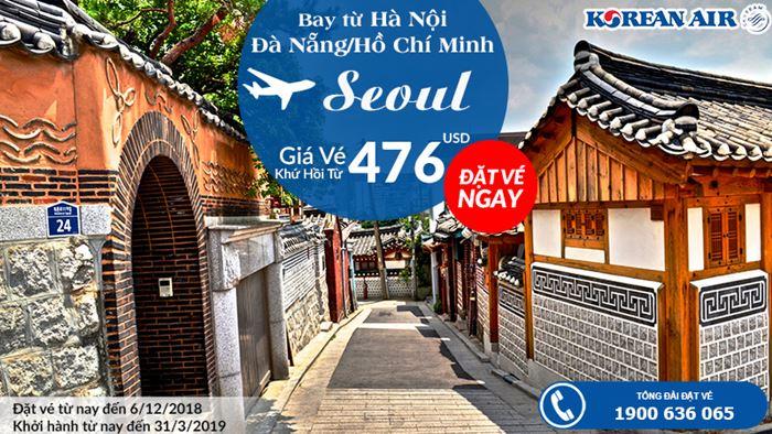 Bay từ Việt Nam đi Seoul chỉ 476 USD vé máy bay khứ hồi